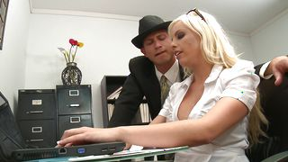 Breathtaking blonde woman Britney Amber with firm tits gags and gets drilled by guy