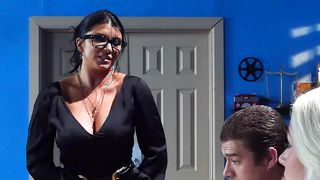 Delicious gal Romi Rain with curvy tits is about to spread her legs wide open and get fucked until she cums
