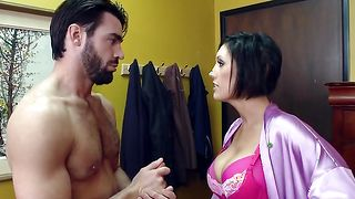 Mischievous busty beauty Dylan Ryder is spreading her curvy ass while taking a huge pipe in the soft pussy