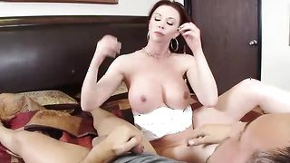 Astonishing brunette cougar Felony Foreplay with large tits jerks a stud's hard dinky