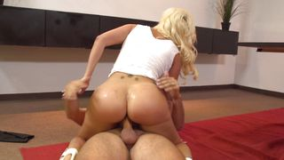 Horny busty blonde darling Savana Styles bends over for a long dinky