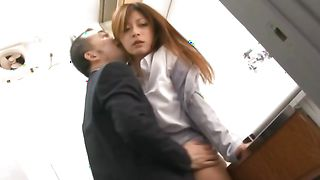 Startling busty Haruki Sato is sucking a rock hard stick and getting a facial cumshot