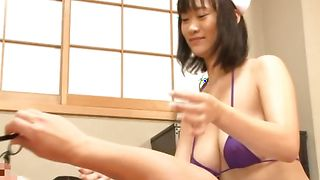 Astounding busty girlfriend Riho Hoshiyama is ready to be fucked and also facialized