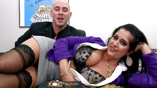 Racy Kimber Kay with great tits vigorously rides her dude's dinky