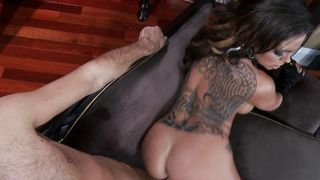 Startling Julia Bond with curvy natural tits impales her delicious cuch on hard dick