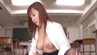 Luxurious Mashiro Yuuna with huge tits was sitting while man was eating her warm gash