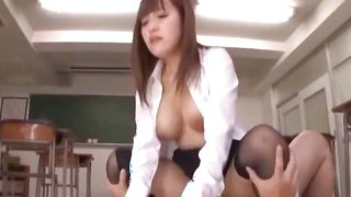 Luxurious Mashiro Yuuna with huge tits was sitting while man was eating her warm gash