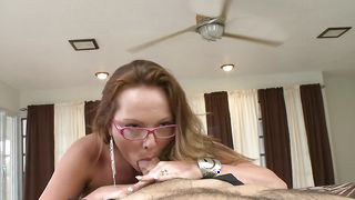 Staggering Lindsey Lovehands with massive natural tits is about to start sucking a hard dangler like a pro