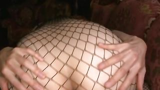 Luxurious busty girlie Ai Sayama rubs her pie while giving a blowjob