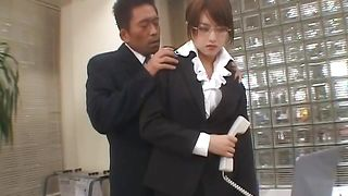 Wanton Akiho Yoshizawa with great tits gives a playmate blowjob he won't forget