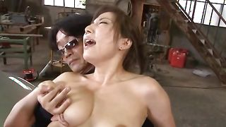 Delightful Mirei Yokoyama with round tits is rubbing her poontang then fucked
