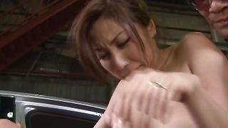 Delightful Mirei Yokoyama with round tits is rubbing her poontang then fucked