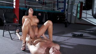 Sugary busty minx Aryana Augustine is spreading her legs getting fucked