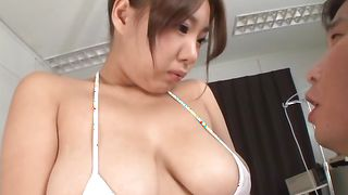 Glamor busty perfection Chika Kitano is eager to suck that big boner