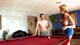 Spicy busty blonde Nikki Sexx is dared to suck the buddy's hard dink