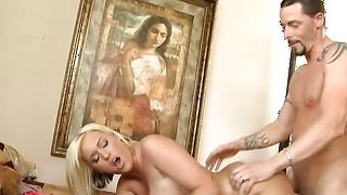 Salacious busty beauty Memphis Monroe takes a python from behind