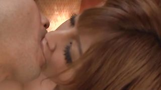 Delectable Reira Akane with impressive tits eagerly sucks a hard chopper