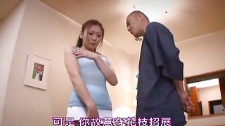 Topnotch beauty Emi Harukaze with curvy tits makes a mess while drooling on a dinky