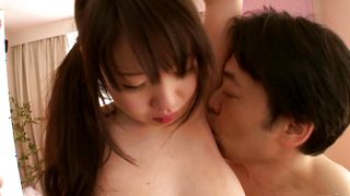 Elegant barely legal Aika Yumeno with massive tits loves drooling on big dinkys