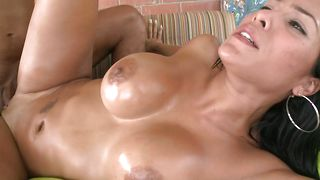 Hot-tempered floosy Celeste with round tits getting spoon fucked thoroughly