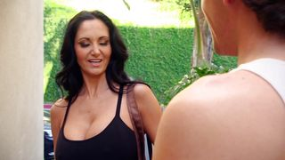 Spicy busty Ava Addams eagerly strips and sucks stranger's packing monster