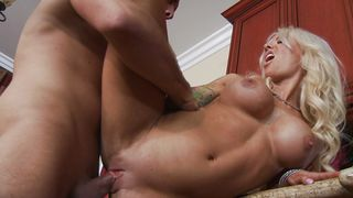 Alluring blonde gal Helly Mae Hellfire with great tits is sucking a huge fuck stick and enjoying it a lot