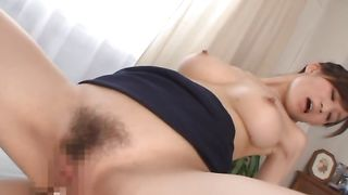 Angelic Ki Hanyuu with great tits enjoys riding a big and massive shaft