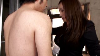 Inviting girlie Julia with massive tits sucks off a fellow