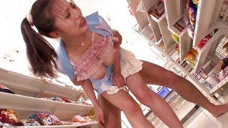 Gorgeous busty Ruri Saijou rides massive prick like a pro