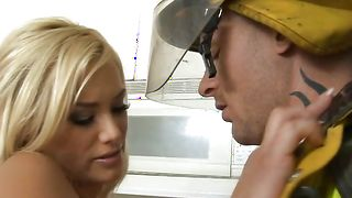 Sexy blonde Shyla Stylez with massive tits lets stud grope her