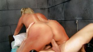 Pretty blonde bimbo Jessica Nyx with great tits is often fucking pussy tester because she likes his hard rod