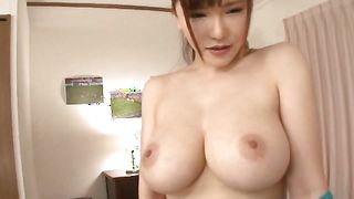 Gorgeous Anri Okita with massive tits sitting on a penis getting fucked