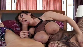 Sugary brunette gf Claire Dames with firm tits moans like a bitch in heat while being plowed
