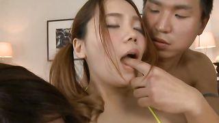 Lovely busty Yuna Nanjyou has her cunt eaten well