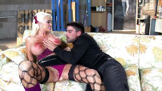 Extraordinary blonde Summer Brielle with impressive tits likes being smashed sideways by stranger