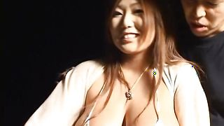 Slender Rui Akikawa with large tits loves her lad's foreplay arousal techniques