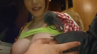 Lascivious Honami Uehara with huge tits gags on the thick penis before riding it