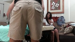 Racy brunette Karina White with curvy tits is not being bossy when she wants to have sex