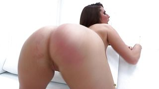 Sexual beauty Paige Turnah with curvy natural tits sucks and bends over for a large dangler