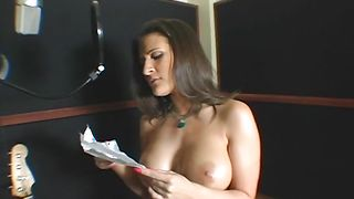 Ambitious busty brunette Austin Kincaid takes it from behind from male