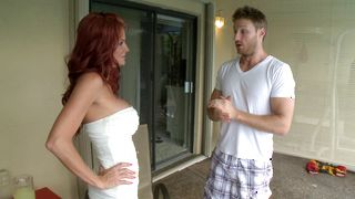 Raunchy redhead hottie Rhyse Richards with large tits wants to show how well she sucks
