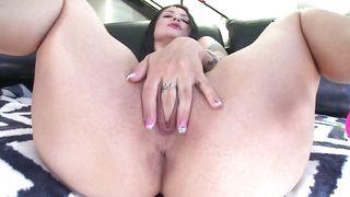 Topnotch busty Katrina Jade strips to take a firm lever