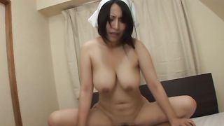 Enchanting bimbo Yuuna Hoshisaki with curvy tits raises her skirt for a large fuck stick