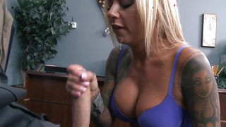 Pretty blonde Britney Shannon with great tits wrapped her lips around fellow's chopper and sucked it like crazy
