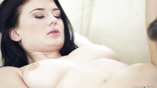 Curvaceous girlfriend Lucy Li with large tits likes to suck bf's lever and to get fucked hard
