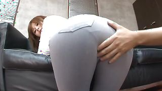 Enticing busty Ramu Hoshino is sucking a rock hard love rocket and loving it