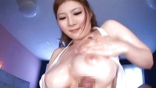 Pretty Momoka Nishina with round tits is whimpering on her mate's hard boner