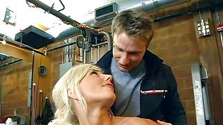 Horny busty blonde girl Puma Swede gladly lets guy grope her