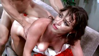 Delicious brunette Lily Love with massive natural tits gladly takes a joyful dangler ride