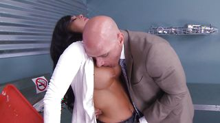 Hot Crista Moore with big tits enjoys a ride on the stiff packing monster